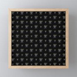 Menorah 24 black and white Framed Mini Art Print