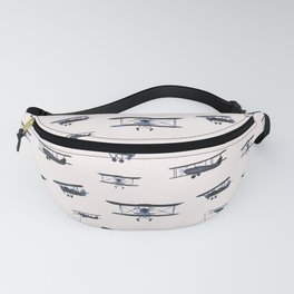 Navy retro airplanes on ivory - watercolor planes Fanny Pack