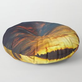 Blue And Yellow Sky By The Sunset Floor Pillow