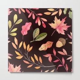 Pink orange yellow brown watercolor fall acorn leaves Metal Print