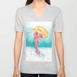 Jellyfish with Flowers Unisex V-Neck
