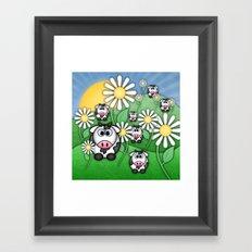 Cows & Daisies  Framed Art Print