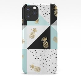 Pastel color block watercolor dots faux gold pineapple iPhone Case