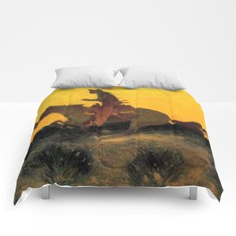 "Frederic Remington Western Art ""Against the Sunset"" Comforters"