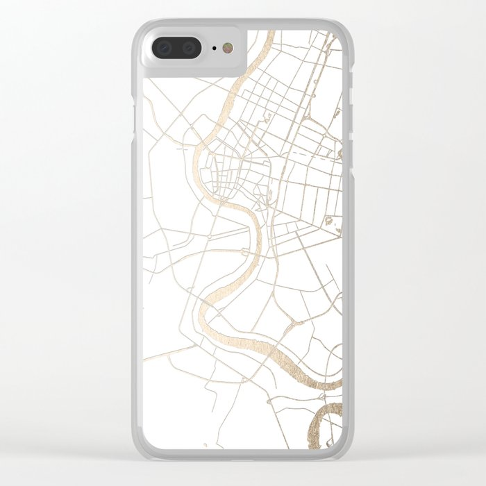 Bangkok Thailand Minimal Street Map - Gold Metallic and White IV Clear iPhone Case