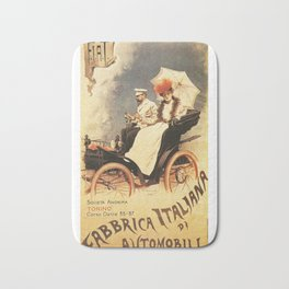 Vintage Poster, car fabrica italiana de automobili, vintage poster Bath Mat