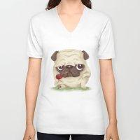 pug V-neck T-shirts featuring Pug by Toru Sanogawa