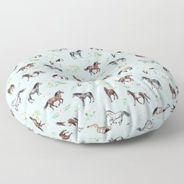 Floral Horse Pattern, Flowers and Horses, Romantic Blue, Horse Decor, Horse Art Floor Pillow