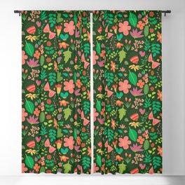 Garden Scatter - Warm Spring Colours on Dark Forest Green (floral pattern) Blackout Curtain