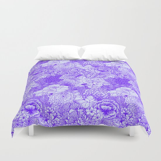 Shocking Purple Floral Duvet Cover