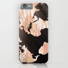 Earth Map Rose Gold Glitter Marble Space iPhone 6 Slim Case