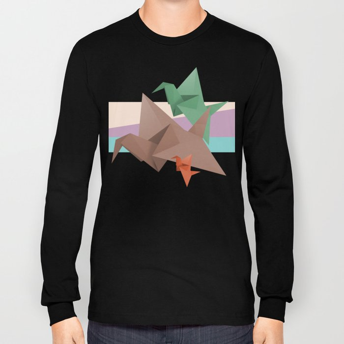 PAPER CRANES (Origami abstract birds animals nature) Long Sleeve T-shirt