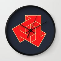 green arrow Wall Clocks featuring Arrow by Dizzy Moments