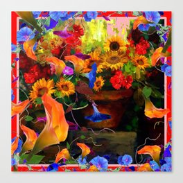 ABSTRACTED  ORANGE CALLA LILIES  FLORAL STILL LIFE Canvas Print