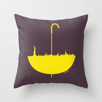 how i met your mother Throw Pillows featuring Yellow umbrella by Beitebe