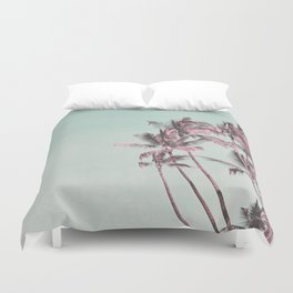 Tropical Palm Trees In Surreal Pink Duvet Cover