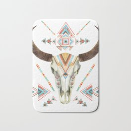 Watercolor skull tribal design Bath Mat