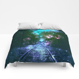 train tracks Next Stop Anywhere bright Comforters