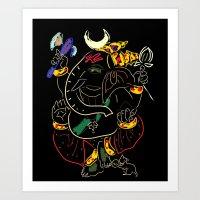 ganesha Art Prints featuring Ganesha by Ghavuri Kumar