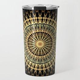 Black Gold Mandala Travel Mug
