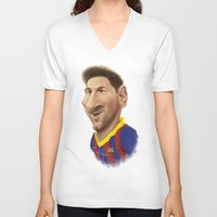 messi V-neck T-shirts featuring Messi - Barcelona by Sant Toscanni