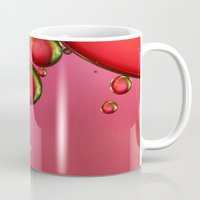 lime green Mugs featuring Lime Green & Strawberry by Sharon Johnstone