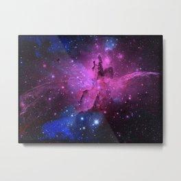 Pink N Blue Floral Space Explosion Metal Print