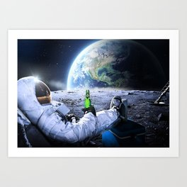 Astronaut on the Moon with beer Art Print