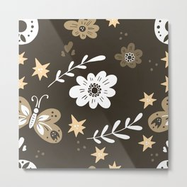 Dark Brown Pattern with White Flowers and light brown butterflies Metal Print