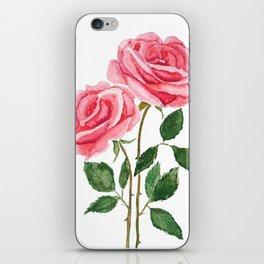 two pink roses watercolor iPhone Skin