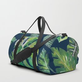 Jungle Leaves, Banana, Monstera, Blue Duffle Bag