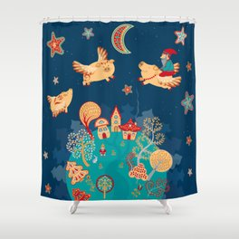 Flying pigs in the night, gnomes, fabulous houses, magical forest, mysterious planet. Shower Curtain