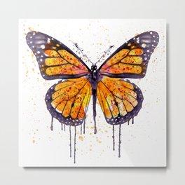 Monarch Butterfly watercolor Metal Print