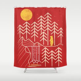 Sunlands - Bear T-Shirt, Bear, Nature, Geometric, Waterfall, Hiking gift, Walking, outdoors Shower Curtain