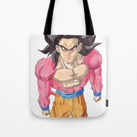 goku Tote Bags featuring GOKU SSJ4 by DeMoose_Art