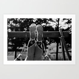 Playing on the swing Art Print