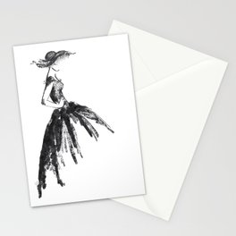 Retro fashion sketch Stationery Cards