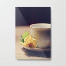 Tea Time and Roses Metal Print