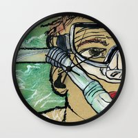 kevin russ Wall Clocks featuring Kevin Search by K. Fry Illustration