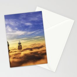 Wonderful Dreamy Church Towers Levitating In Sky UHD Stationery Cards