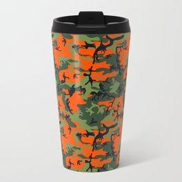 Green, Orange, Brown, Black Camouflage Travel Mug