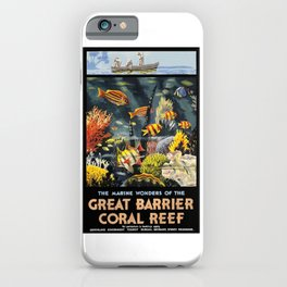 1933 Australia Great Barrier Coral Reef Travel Poster iPhone Case