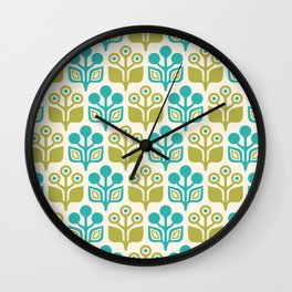 Mid Century Garden Flower Pattern Turquoise Chartreuse Wall Clock