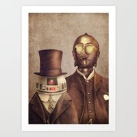 victorian Art Prints featuring Victorian Robots  by Terry Fan