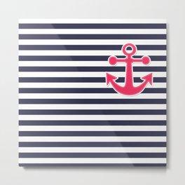12 Blue , white , striped Metal Print