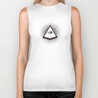 illuminati Biker Tanks featuring Illuminati by Heiko Hoos