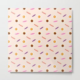 Sweets,cakes and coffee pattern Metal Print