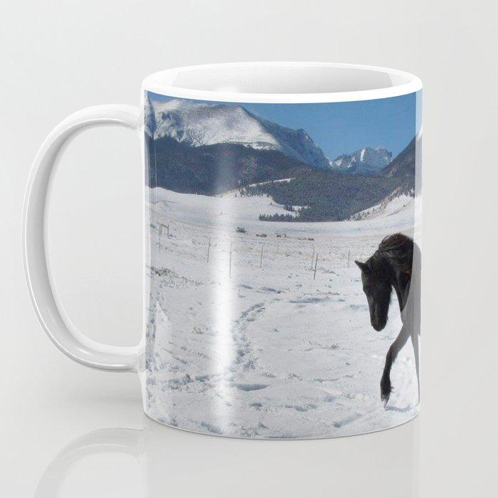 Friesian in the snow Coffee Mug