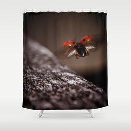 Ladybird in flight Shower Curtain