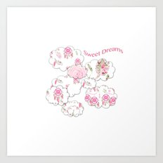 Sweet Dreams on white Art Print